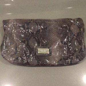 Black and grey snakeskin clutch